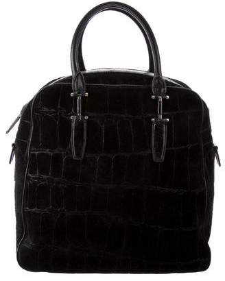 Theyskens' Theory Leather-Trimmed Suede Bag