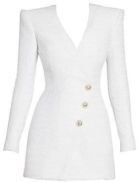 Balmain Women's Long-Sleeve Tweed Wrap Mini Dress