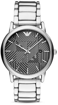 Emporio Armani Geo-Pattern Dial Dress Watch, 43mm