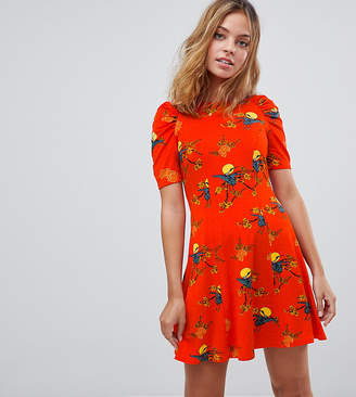 Asos Mini Tea Dress with Ruched Shoulders In Bird Print