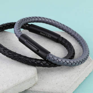 6a716ede8a30 Lisa Angel Men s Personalised Leather Bracelet With Matt Clasp