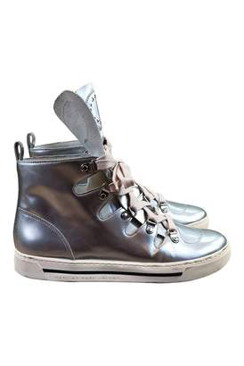 Marc by Marc Jacobs Silver Leather Trainers