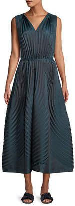 Issey Miyake V-Neck Sleeveless Belted A-line Pleated Dress