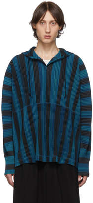 Issey Miyake Homme Plisse Blue and Black Stripe Rod Hoodie