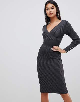 Lipsy plunge neck knitted midi dress in charcoal