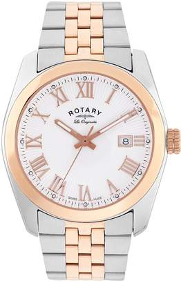 Rotary Swiss Made Lausanne with White and Rose Gold Sunburst Textured Dial and Two Tone Stainless Steel Strap Ladies Watch