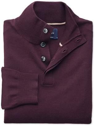 Charles Tyrwhitt Wine Merino Wool Button Neck Sweater Size Large
