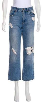 Anine Bing Distressed Mid-Rise Straight-Leg Jeans