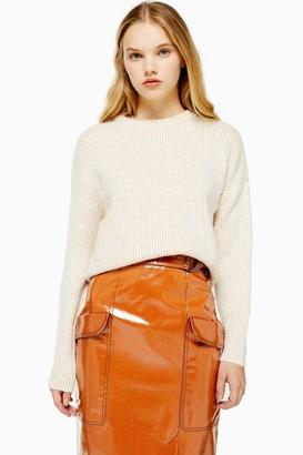 Topshop Womens Knitted Super Soft Crop Jumper - Oatmeal