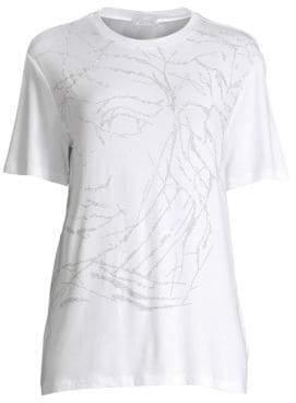 Versace Women's Half Medusa Marble Embellished T-Shirt - Optical White - Size 38 (2)