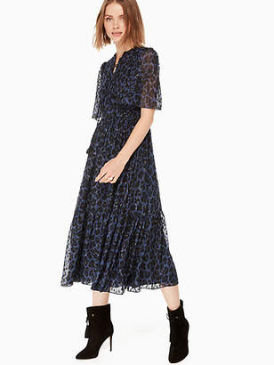 Kate Spade Leopard-print clip dot midi dress