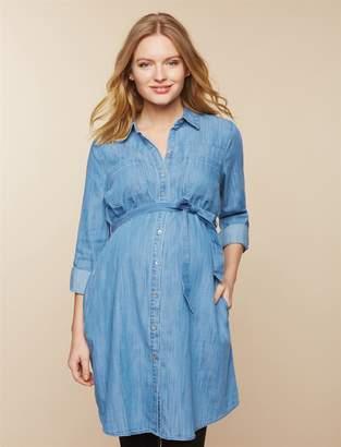 Motherhood Maternity Belted Chambray Maternity Shirt Dress