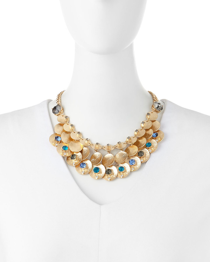 Fragments for Neiman Marcus Blue Crystal Brushed Disc Mesh Necklace