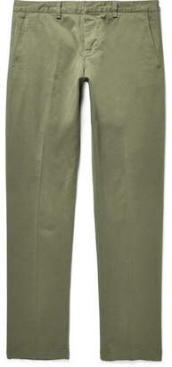 Ami Slim-Fit Stretch Cotton-Twill Chinos - Army green