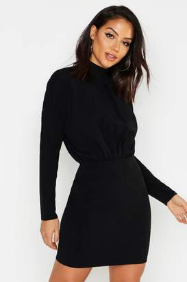 boohoo High Neck Crepe Mini Bodycon Dress