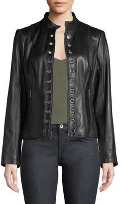 Neiman Marcus Leather Collection Grommet-Trim Lamb Leather Moto Jacket