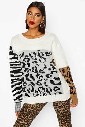 boohoo Mixed Animal Knitted Sweater