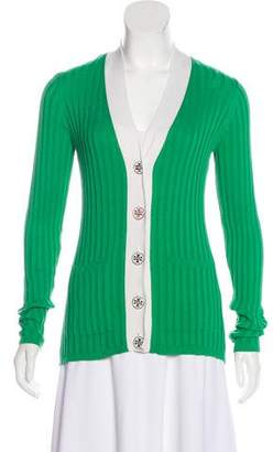 Tory Burch Ribbed Knit Button-Up Cardigan