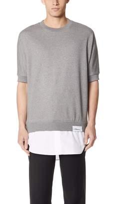 3.1 Phillip Lim Short Sleeve Sweatshirt with Poplin Tail