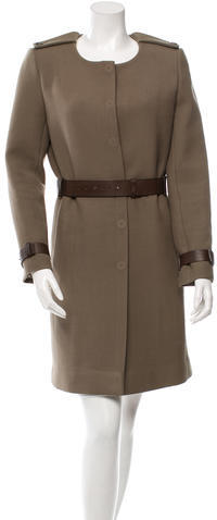 Chloé Chloé Wool Leather-Trimmed Coat