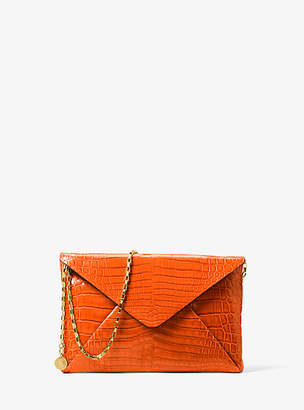 Michael Kors Runway Crocodile Envelope Clutch