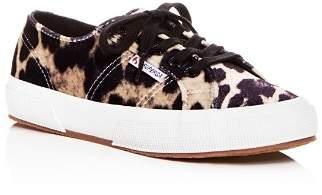 Superga Women's Leopard Print Velvet Classic Lace Up Sneakers