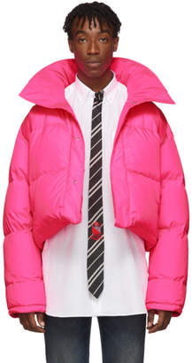 Vetements Reversible and Convertible Pink Down Fluorescent Puffer Jacket