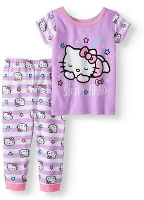 Hello Kitty Baby Girl Cotton Tight Fit Pajamas, 2pc Set
