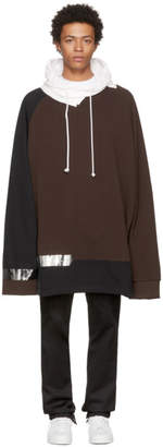 Raf Simons Brown and Black Oversized Taped Hoodie