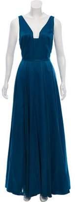 Halston Sleeveless Slit-Accented Dress