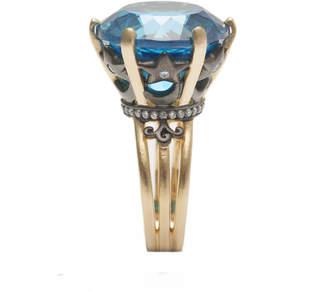 Ammanii Natural Blue Topaz Statement Vermeil Ring