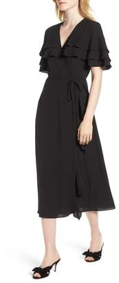 1 STATE 1.STATE Tiered Ruffle Wrap Midi Dress