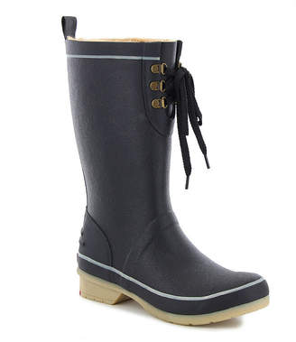 Western Chief Womens Whidbey 3/4 Tall Rain Boots Lace Up Waterproof Fleece Lined Flat Heel Pull-on Wide Width