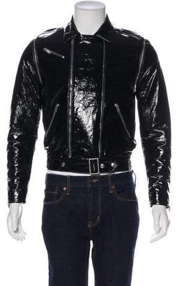 Saint Laurent Paris Sessions Glossy Zip-Accented Moto Jacket