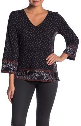 Lucky Brand Dual Patterned V-Neck 3/4 Sleeve Shirt