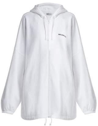 Balenciaga Oversized Logo Embroidered Cotton Hoodie - Womens - White