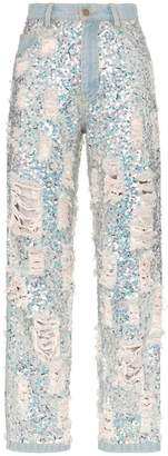 Ashish sequin embellished ripped boyfriend jeans