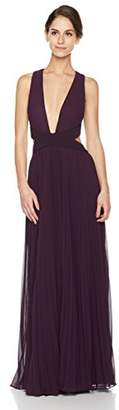 Social Graces Women's Sleeveless Plunging V-Neck Pleated Sheer Layers Cutout Maxi Dress Evening Gown