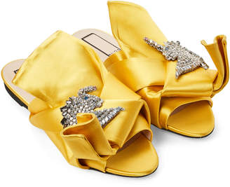No.21 No. 21 Giallo Yellow Embellished Satin Slide Sandals