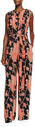 Creatures Of The Wind Sleeveless Bird-Print Wide-Leg Jumpsuit, Black/Red $1,095 thestylecure.com
