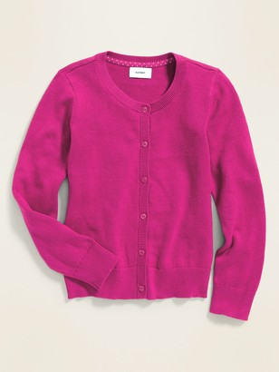 Old Navy Uniform Crew-Neck Button-Front Cardi for Girls