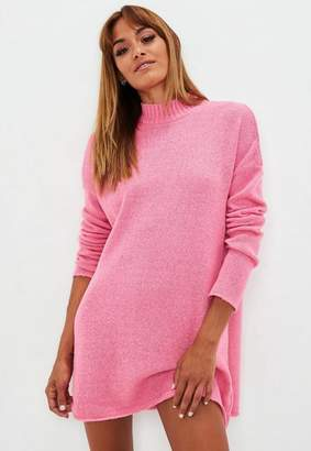 Missguided Hot Pink High Neck Slouchy Sweater Dress