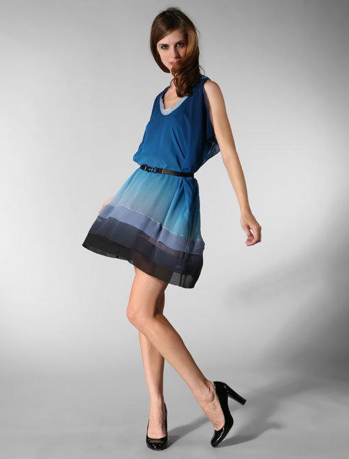 Crispin & Basilio Flutter Dress in Blue Ombre