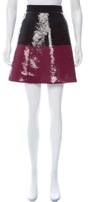 Cédric Charlier Sequined Colorblock Skirt