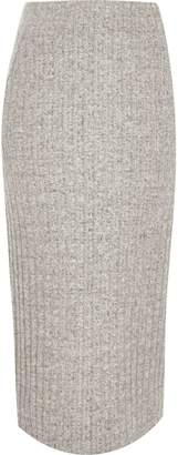River Island Womens Grey ribbed knit midi skirt