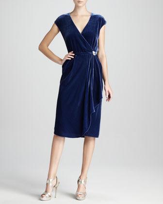 Magaschoni Velvet Wrap Dress