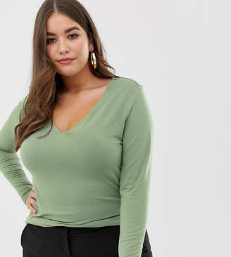Asos DESIGN Curve ultimate top with long sleeve and v-neck in khaki green