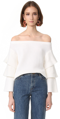 endless rose Off Shoulder Tiered Sleeve Top $90 thestylecure.com