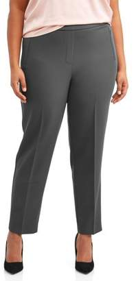 Lifestyle Attitudes Women's Plus Size Pull On Wrinkle Free Career Pant with Zip Pockets