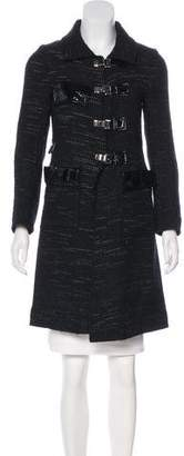 Roland Mouret Patent Leather-Accented Wool Coat